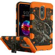 Military Grade Certified Storm Tank Hybrid Armor Case with Stand for LG K30 - Tree Camouflage Orange