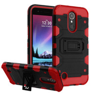 Military Grade Certified Storm Tank Hybrid Armor Case with Stand for LG K20 Plus / K20 V / K10 (2017) / Harmony - Black Red