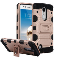 Military Grade Certified Storm Tank Hybrid Armor Case with Stand for LG Aristo / Fortune / K8 (2017) / Phoenix 3 - Rose Gold