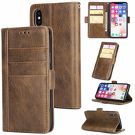 Deluxe Genuine Leather Wallet Case for iPhone XS Max - Brown