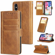 Deluxe Genuine Leather Wallet Case for iPhone XS Max - Cinnamon Brown