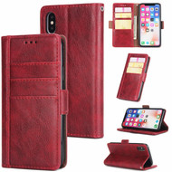 Deluxe Genuine Leather Wallet Case for iPhone XS Max - Red Wine