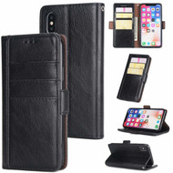 Deluxe Genuine Leather Wallet Case for iPhone XS / X - Black