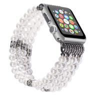 Luxurious Faux Pearl with Rhinestones Watch Band Bracelet for Apple Watch 44mm / 42mm - White