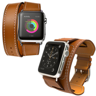4-IN-1 Double Wrap Cuff Bund Leather Watch Band for Apple Watch 44mm / 42mm - Brown