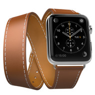 Double Wrap Genuine Leather Watch Band for Apple Watch 44mm / 42mm - Brown