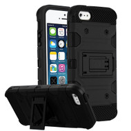 Military Grade Certified Storm Tank Hybrid Armor Case with Stand for iPhone SE / 5S / 5 - Black