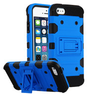 Military Grade Certified Storm Tank Hybrid Armor Case with Stand for iPhone SE / 5S / 5 - Blue