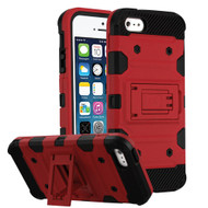 Military Grade Certified Storm Tank Hybrid Armor Case with Stand for iPhone SE / 5S / 5 - Red