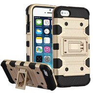 Military Grade Certified Storm Tank Hybrid Armor Case with Stand for iPhone SE / 5S / 5 - Gold