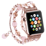 Faux Pearl Natural Agate Stone Watch Band for Apple Watch 40mm / 38mm - Rose Gold