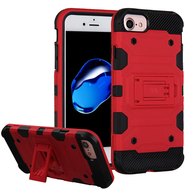 Military Grade Certified Storm Tank Hybrid Armor Case with Stand for iPhone 8 / 7 / 6S / 6 - Red