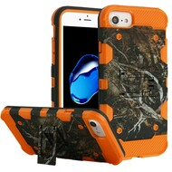 Military Grade Certified Storm Tank Hybrid Armor Case with Stand for iPhone 8 / 7 / 6S / 6 - Tree Camouflage Orange