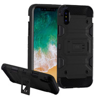 Military Grade Certified Storm Tank Hybrid Armor Case with Stand for iPhone XS / X - Black