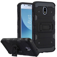 Military Grade Certified Storm Tank Hybrid Armor Case with Stand for Samsung Galaxy J3 (2018) - Black