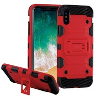 Military Grade Certified Storm Tank Hybrid Armor Case with Stand for iPhone XS / X - Red