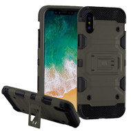 Military Grade Certified Storm Tank Hybrid Armor Case with Stand for iPhone XS / X - Grey