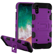 Military Grade Certified Storm Tank Hybrid Armor Case with Stand for iPhone XS / X - Purple