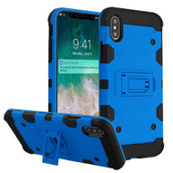 Military Grade Certified Storm Tank Hybrid Armor Case with Stand for iPhone XS Max - Blue