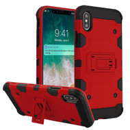 Military Grade Certified Storm Tank Hybrid Armor Case with Stand for iPhone XS Max - Red