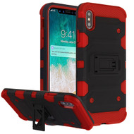Military Grade Certified Storm Tank Hybrid Armor Case with Stand for iPhone XS Max - Black Red