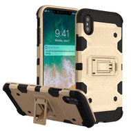 Military Grade Certified Storm Tank Hybrid Armor Case with Stand for iPhone XS Max - Gold