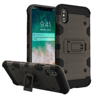 Military Grade Certified Storm Tank Hybrid Armor Case with Stand for iPhone XS Max - Grey