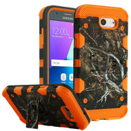 Military Grade Certified Storm Tank Hybrid Armor Case with Stand for Samsung Galaxy J3 (2017) / J3 Emerge / J3 Prime / Amp Prime 2 - Tree Camouflage Orange