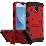 Military Grade Certified Storm Tank Hybrid Armor Case with Stand for Samsung Galaxy J3 (2018) - Red