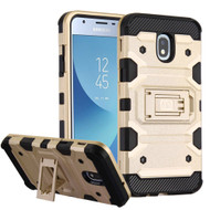 Military Grade Certified Storm Tank Hybrid Armor Case with Stand for Samsung Galaxy J3 (2018) - Gold