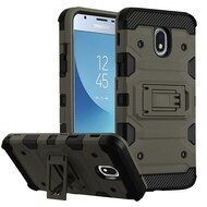 Military Grade Certified Storm Tank Hybrid Armor Case with Stand for Samsung Galaxy J3 (2018) - Grey