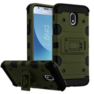 Military Grade Certified Storm Tank Hybrid Armor Case with Stand for Samsung Galaxy J3 (2018) - Green