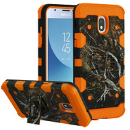Military Grade Certified Storm Tank Hybrid Armor Case with Stand for Samsung Galaxy J3 (2018) - Tree Camouflage Orange
