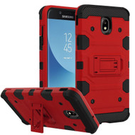 Military Grade Certified Storm Tank Hybrid Armor Case with Stand for Samsung Galaxy J7 (2018) - Red