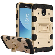 Military Grade Certified Storm Tank Hybrid Armor Case with Stand for Samsung Galaxy J7 (2018) - Gold