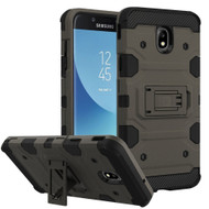 Military Grade Certified Storm Tank Hybrid Armor Case with Stand for Samsung Galaxy J7 (2018) - Grey