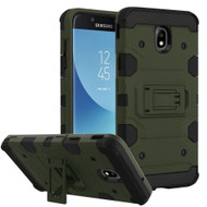 Military Grade Certified Storm Tank Hybrid Armor Case with Stand for Samsung Galaxy J7 (2018) - Green