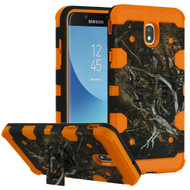 Military Grade Certified Storm Tank Hybrid Armor Case with Stand for Samsung Galaxy J7 (2018) - Tree Camouflage Orange