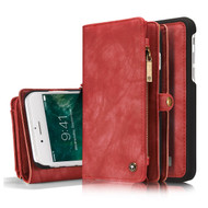 Luxury Coach Series Leather Wallet with Detachable Magnetic Case for iPhone 8 Plus / 7 Plus - Red