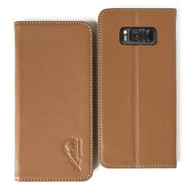 Genuine Leather Rfid Wallet Case for Samsung Galaxy S8 Plus - Brown