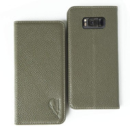 Genuine Leather Rfid Wallet Case for Samsung Galaxy S8 Plus - Olive Green
