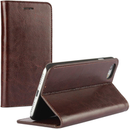 Genuine Leather Book-Style Wallet Case for iPhone 8 Plus / 7 Plus - Dark Brown