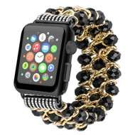 Glamorous Chic Style Bracelet Faux Crystal Watch Band for Apple Watch 44mm / 42mm - Black