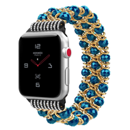 Glamorous Chic Style Bracelet Faux Crystal Watch Band for Apple Watch 44mm / 42mm - Blue