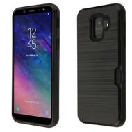 ID Card Slot Hybrid Case for Samsung Galaxy A6 (2018) - Black