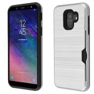 ID Card Slot Hybrid Case for Samsung Galaxy A6 (2018) - Silver