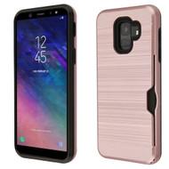ID Card Slot Hybrid Case for Samsung Galaxy A6 (2018) - Rose Gold