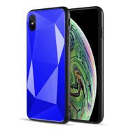 Scratch Resistant Diamond Cut Tempered Glass TPU Fusion Case for iPhone XS / X - Navy Blue