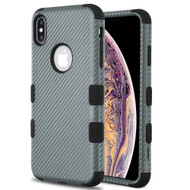Military Grade Certified TUFF Hybrid Armor Case for iPhone XS Max - Carbon Fiber Grey