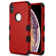 Military Grade Certified TUFF Hybrid Armor Case for iPhone XS Max - Carbon Fiber Red
